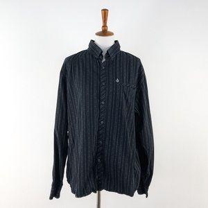 Volcom Black Print Long Sleeve Button Down Shirt